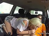 Blonde driving student in hot pants fucks