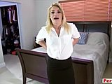 Getting paid to let my hot blonde stepmom suck my cock
